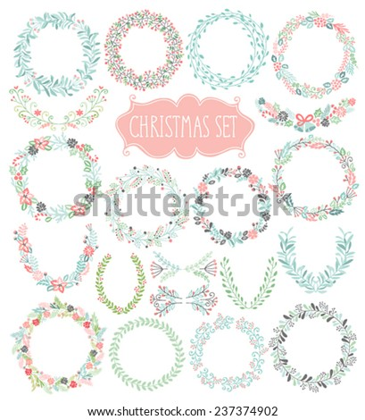 Christmas hand drawn wreath set. Vector illustration. - stock vector