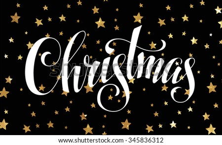 Christmas hand lettering - handmade calligraphy inscription - stock vector