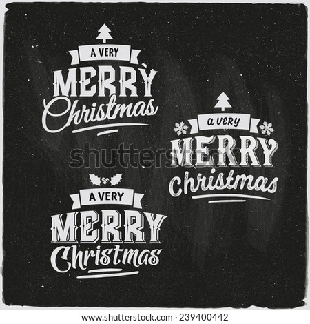Christmas hand lettering Set Of Typographic Design - stock vector