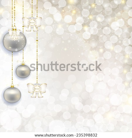 Christmas hanging balls on abstract background with highlights. Vector illustration of holiday, Christmas tree decorations, menu, card, postcard, banner. Hanging a bunch of Christmas tree decorations.
