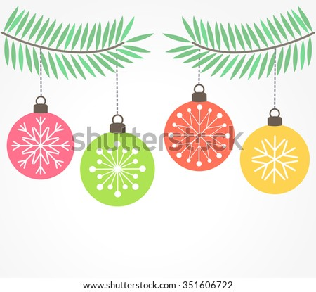Christmas hanging fir baubles ornaments. Vector illustration - stock vector