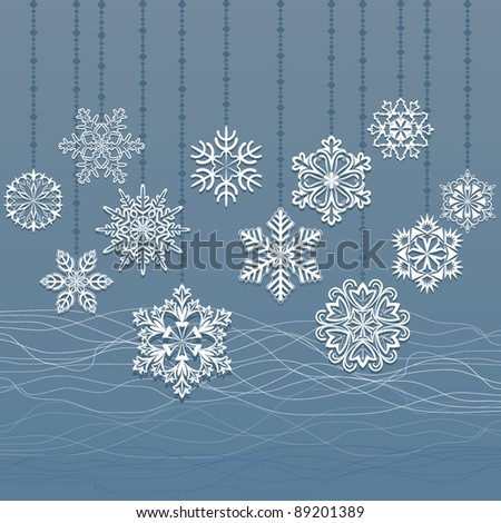 Blue decorations hanging snowflake stock images royalty for 3d hanging snowflake decoration