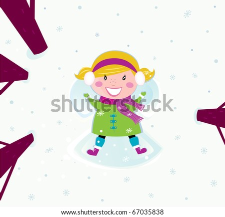 Christmas: Happy girl in snow making angel. Happy christmas girl in winter nature making angel. Vector cartoon illustration.
