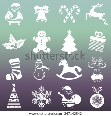 Christmas, Happy New Year and Winter icons collection. Set of holidays symbols, elements - santa, deer, gift, snowman, candy, toys for web, app, print. Vector monochrome silhouette illustration