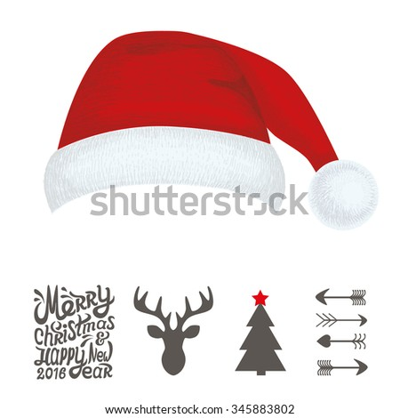 Christmas hat for your design. Merry Christmas and Happy New Year text. Christmas typography. Vector illustration of Merry Christmas lettering with deer, christmas tree, cap and arrow.
