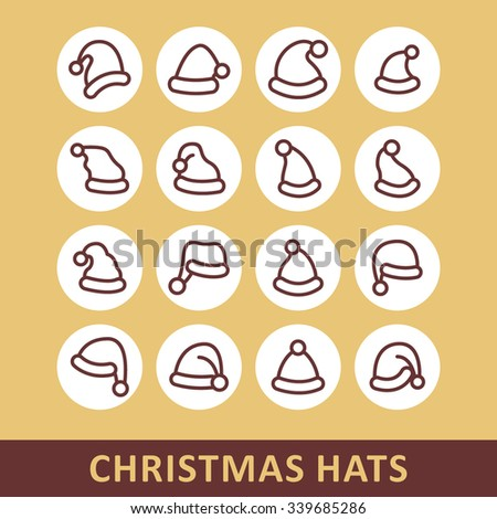 Christmas hat icon / Christmas hat picture / Christmas hat drawing / Christmas hat image / Christmas hat icon graphic / Christmas hat JPG / Christmas hat EPS / Christmas hat icon AI - stock vector