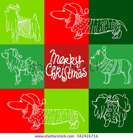 christmas hats dogs pattern vector background card banner holiday congratulation - stock vector