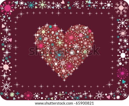 Christmas heart with snow in cartoon style. Vector background. - stock vector