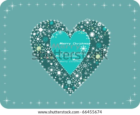 Christmas heart with snow. Vector background. - stock vector