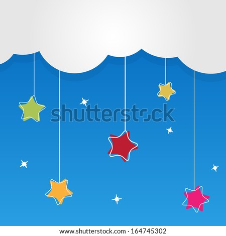 Christmas heaven with hanging stars - background - stock vector