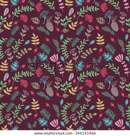 Christmas herbal color seamless pattern.  Plants with Christmas symbols. Hand drawing. Seamless pattern for fabric, paper and other printing and web projects.