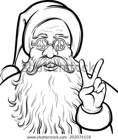 Christmas Hippie Coloring Page Santa Claus Stock Vector 202076158 ...