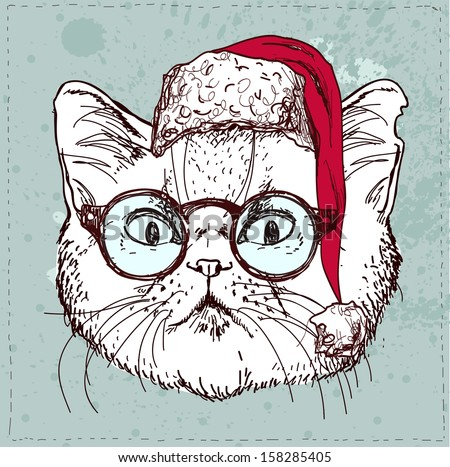 Christmas Hipster Cat Hand Draw Sketchy Illustration On Vintage Textured Background