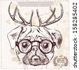 Christmas hipster dog with deer horns hand draw, sketchy illustration on vintage textured background - stock vector