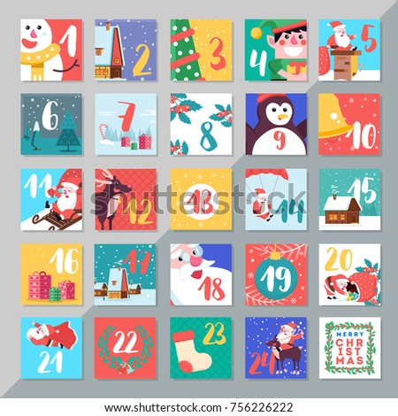 Christmas Holiday Advent Calendar Template Design Stock Vector