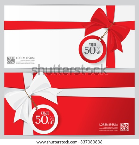 christmas holiday and new year gift voucher certificate coupon template. can be use for business shopping card, customer sale and promotion, layout, banner, web design. vector illustration - stock vector