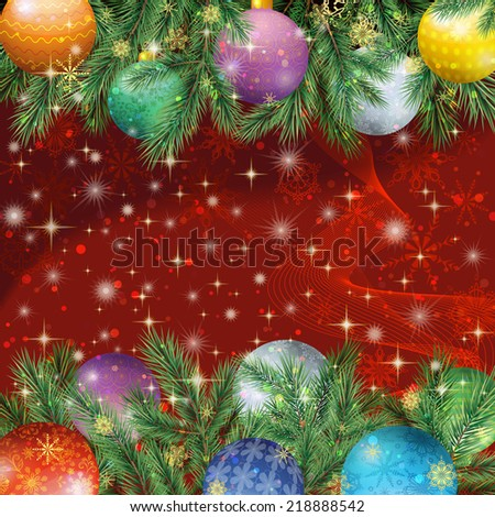 Christmas holiday background with fir branches, balls, stars and snowflakes. Eps10, contains transparencies. Vector - stock vector