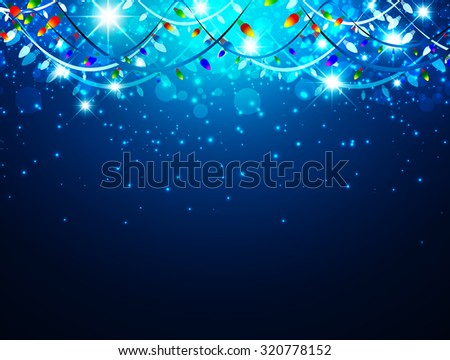 Christmas Holiday Background With Lights and Stars, Copyspace - stock vector