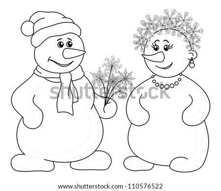 Christmas holiday cartoon, snowballs man and woman with a bouquet of flowers - snowflakes, black contour on white background. Vector illustration - stock vector