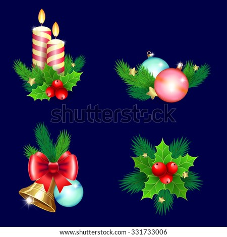 Christmas holiday decoration. Icon set with candles, bells, branches and bow.  Isolated vector illustration   for  Christmas posters, icons, greeting cards, print projects. - stock vector