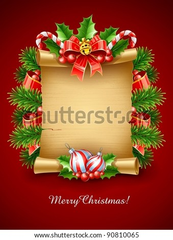 christmas holiday greetings script with decoration vector illustration - stock vector