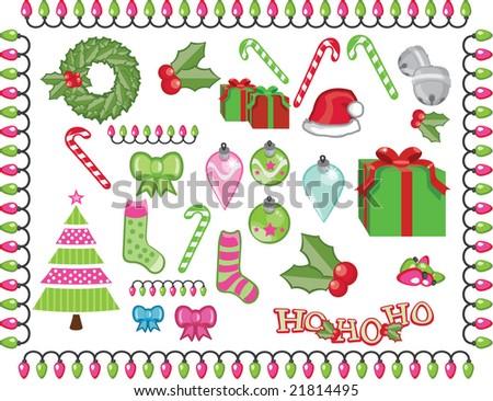 Christmas Holiday Icon set - stock vector