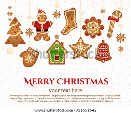 Christmas holiday icons and elements garland with congratulatory text - stock vector