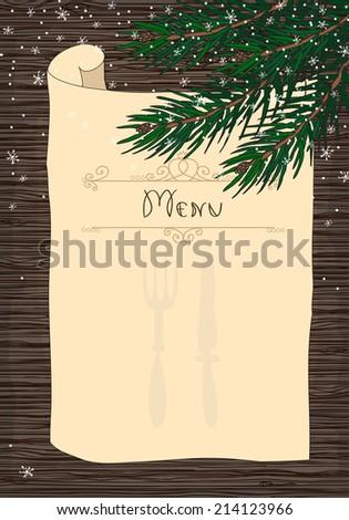 Christmas holiday menu poster. Hand drawn vector illustration. - stock vector