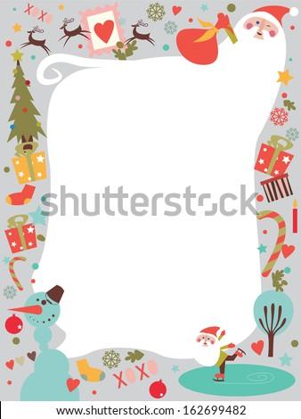 Christmas holiday post card with Santa - stock vector