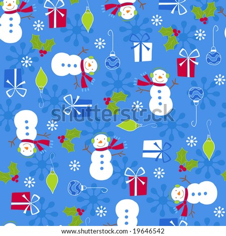 Christmas Holiday Snowmen and Gifts Seamless Repeat Pattern Vector Illustration - stock vector