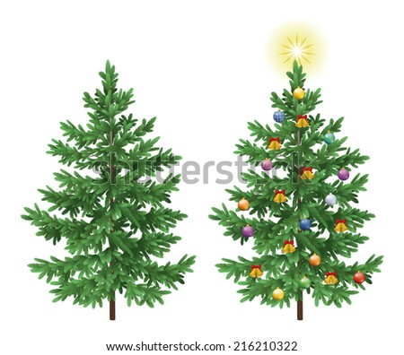 Christmas holiday spruce fir trees with ornaments, balls, bells and stars isolated on white background. Eps10, contains transparencies. Vector - stock vector