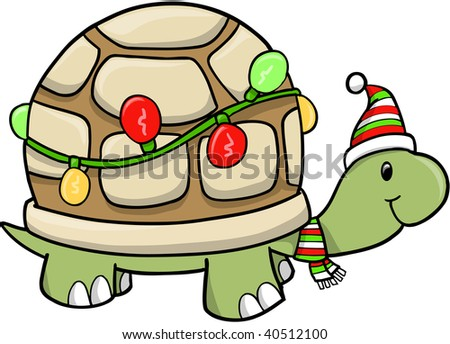 Christmas Holiday turtle Vector Illustration