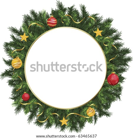 Christmas holiday wreath with yellow, gold, and red ornaments. - stock vector