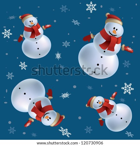 Christmas holidays pattern background with snowmen isolated on blue. mesh vector illustration seamless. greeting card - stock vector