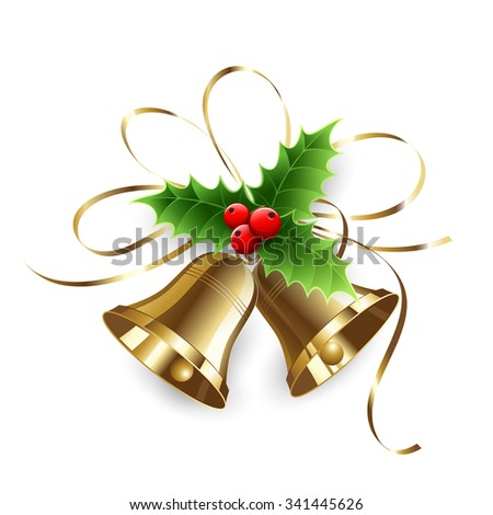 Christmas Holly Berry and gold bells. Vector illustration - stock vector