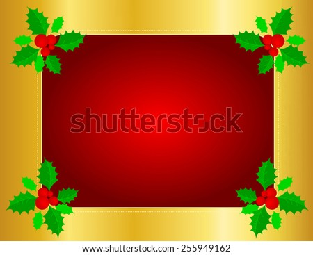 Christmas holly border/ background with holly leaves , berries and golden ribbons - stock vector