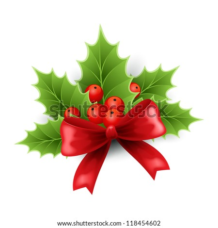 Christmas holly decoration with red ribbon  - stock vector