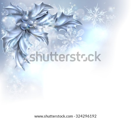 Christmas Holly silver abstract Christmas corner frame background. Fades to white at the bottom and side for easy use as border corner frame design or header.  - stock vector