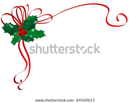 Christmas holly with red berries - stock vector