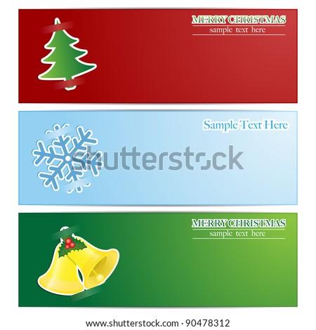 Christmas Horizontal Banners - Vector - stock vector
