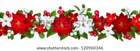 Christmas horizontal seamless background with poinsettia, holly and mistletoe. - stock vector
