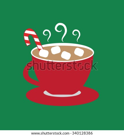Christmas Hot Chocolate with Marshmallows - stock vector