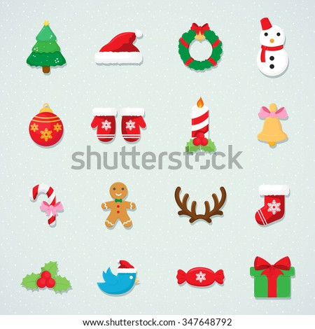 Christmas icon and xmas  icon colorful winter snow set