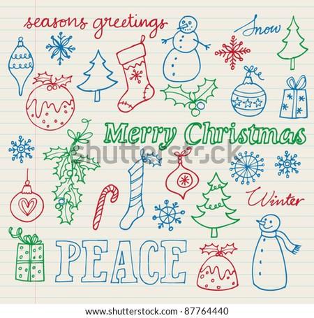 Christmas icon doodle vector - stock vector
