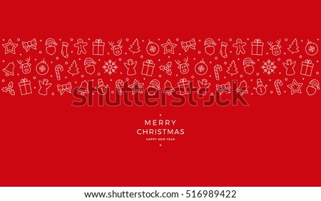 christmas icon elements banner red background