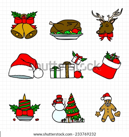 Christmas Icon Free Hand Sketch Collection, Colored Outlines - stock vector