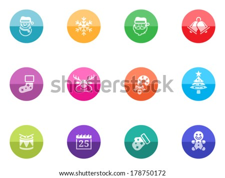 Christmas icon icon series in color circles.  - stock vector