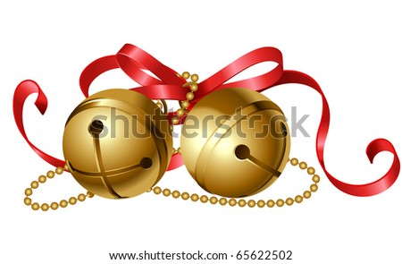 christmas icon of jingle bells with red bow - stock vector