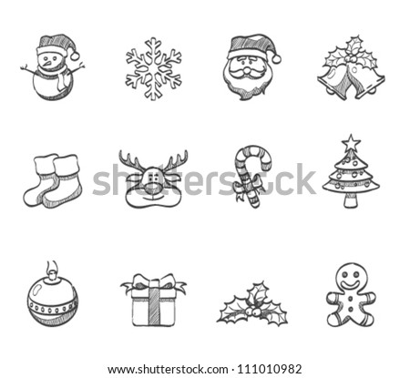 Christmas icon series in sketch - stock vector