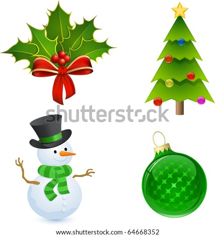 Christmas icon set. Christmas Holly, Tree, Snowman and Bauble - stock vector